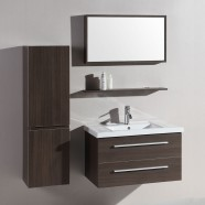 32 In. Wall-Mount Bathroom Vanity Set with Single Sink and Mirror (DK-T5165B)