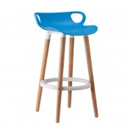 "34.4"" Height Plastic Bar Stool with 4 Wood Legs - Set of 2 (YMG-8317A-1)"
