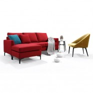 Red Fabric 3-Seat Sofa with Ottoman and Pillows (BO-0695)