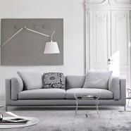 Grey Fabric 3-Seat Sofa with Pillows (BO-302-2S)