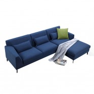 Blue Fabric Right-facing Chaise Sectional with Pillows (BO-0689)