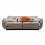 Beige Fabric 3-Seat Sofa with Pillows (BO-606-2S)