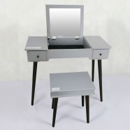 Grey Bedroom Makeup Vanity Set with Flip-Top Mirror and Stool (JI3303)