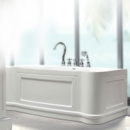 67 In Back to Wall Freestanding Bathtub with Drain - Acrylic White (DK-23778)