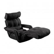 Black Soft Linen Fabric Folding Floor Sofa Recliner (K16RS01-BK)