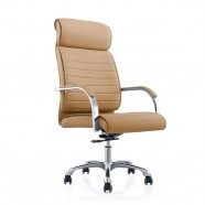 Brown High-Back Executive Chair in Faux Leather with thick padded headrest (CJG-118)