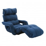 Dark Blue Soft Linen Fabric Folding Floor Sofa Recliner (K16RS01-BL)