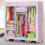 Oxford Fabric Portable Wardrobe Closet Storage Organizer with Shelving (DK-WF8506D-1)