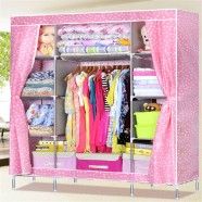 Non-woven Fabric Portable Wardrobe Closet Storage Organizer with Shelving (DK-WF1615-2)