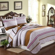 3-Piece Quilt Set, 100% Cotton, Light Purple/Brown (DK-WX001)