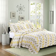 3-Piece Quilt Set ,100% Cotton, Yellow/Green Leaves Pattern  (DK-WX003)