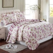 3-Piece Quilt Set, 100% Cotton, Countryside Style Design (DK-WX005)