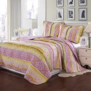3-Piece Quilt Set, 100% Cotton, Countryside Style Design (DK-WX007)
