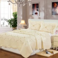 3-Piece Quilt Set ,100% Cotton, Cream Color (DK-WX013)