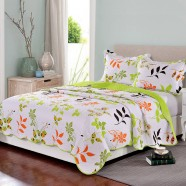3-Piece Quilt Set ,100% Cotton,  Colorful Leaves Design (DK-WX014)