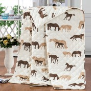 2-Piece Quilt Set, Brown Cartoon Horse, Twin (DK-WX020)