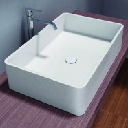 White Artificial Stone Above Counter Bathroom Vessel Sink (DK-HB9009)