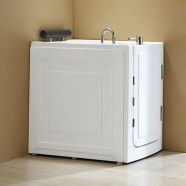 40 x 28 In Walk-in Whirlpool Soaking Bathtub - Acrylic White with Right Drain (DK-MQ376-R)