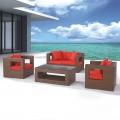 4-Piece PE Rattan Sofa Set: 1* Loveseat, 2 * Lounge Chair, 1* Coffee Table (LLS-220)