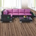 6-Piece PE Rattan Sofa Set: 2 * Arm sofa, 2 * Armless sofa, 1 * Corner Sofa, 1 * Coffee Table (LLS-351)