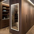 DECORAPORT 48 x 20 Inch LED Full-Length Dress Mirror with Touch Button, Explosion-proof Film, Dimmable, Gold Frame, Cold & Neutral & Warm Lights, Mirror&Wall Control, Standing Holder (D1805-4820)