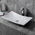 White Rectangular Artificial Stone Above Counter Bathroom Vessel Sink (DK-HB9017)