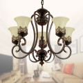 5-Light Black Wrought Iron Chandelier with Glass Shades (DK-6318-5S)