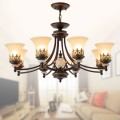 8-Light Black Wrought Iron Chandelier with Glass Shades (DK-1001-8S)