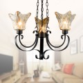 3-Light Black Wrought Iron Chandelier with Glass Shades (DK-8038-3)