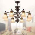 8-Light Black Wrought Iron Chandelier with Glass Shades (DK-1001-8X)