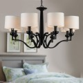 8-Light Black Wrought Iron Chandelier with Cloth Shades (DK-2017-8)