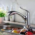 Chrome Finished Brass Kitchen Faucet - Pull Out Spray Head (82H22-CHR-N)