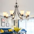 8-Light Black Iron Modern Chandelier with Glass Shades (HKC31333A-8)