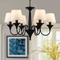 6-Light Black Wrought Iron Chandelier with Cloth Shades (DK-2012-6)