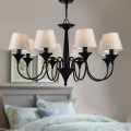 8-Light Black Wrought Iron Chandelier with Cloth Shades (DK-2012-8)