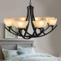 8-Light Black Wrought Iron Chandelier with Glass Shades (DK-8016-8)
