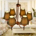 6-Light Gold Wrought Iron Chandelier with Cloth Shades (DK-006-6)
