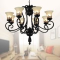 8-Light Black Wrought Iron Chandelier with Glass Shades (DK-1029-8)