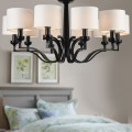 10-Light Black Wrought Iron Chandelier with Cloth Shades (DK-2017-10)