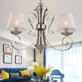 3-Light Silver Iron Modern Chandelier with Fabric Shades (HKP31269-3)