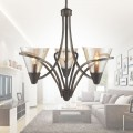 3-Light Iron Chandelier with Glass Shade (HKP704-3)