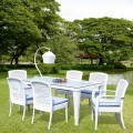 7 Pieces Dining Set: 1 * Dining Table, 2 * Chair, 4 * Armless Chair (JMS-6169)