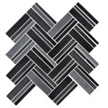 12.4 in. x 13.8 in. Glass Stone Blend Strip Mosaic Tile in Black - 8mm Thickness (DK-8NF0606-007)