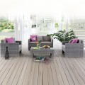 4-Piece PE Rattan Sofa Set: 1 * Loveseat, 2 * Lounge Chair, 1 * Coffee Table (LLS-P36)
