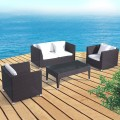 4-Piece PE Rattan Sofa Set: 1 * Loveseat, 2 * Lounge Chair, 1 * Coffee Table (LLS-302)