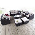 7- Piece PE Rattan Sofa Set: 2 * Lounge Chairs, 1 * Loveseat, 1 * Three-seater Sofa, 1 * Coffee Table, 2 * Ottomans (LLS-231)