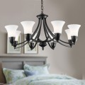 8-Light Black Wrought Iron Chandelier with Glass Shades (DK-8037-8)