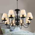 8-Light Black Wrought Iron Chandelier with Cloth Shades (DK-2016-8)