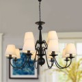 12-Light Black Wrought Iron Chandelier with Cloth Shades (DK-2016-8+4)