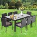 PE Rattan 9 Pieces Dining Set: 1 * Dining Table, 8 * Armless Chair (LLS-6058+1058)